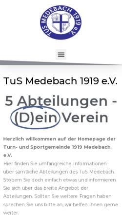 Vorschau der mobilen Webseite tus-medebach.de, Tus Medebach 1919 e.V.