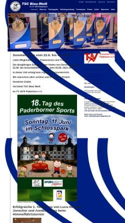 Vorschau der mobilen Webseite www.tanzsport-paderborn.de, Tanzsport TSC Blau-Weiß