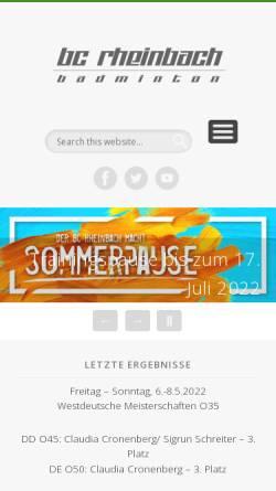 Vorschau der mobilen Webseite www.bc-rheinbach.de, Badminton Club Rheinbach