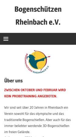 Vorschau der mobilen Webseite www.bogenschuetzen-rheinbach.de, Bogenschützen Rheinbach e.V.