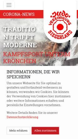 Vorschau der mobilen Webseite www.judo-vereinigung.de, Judo-Vereinigung Siegerland e.V.
