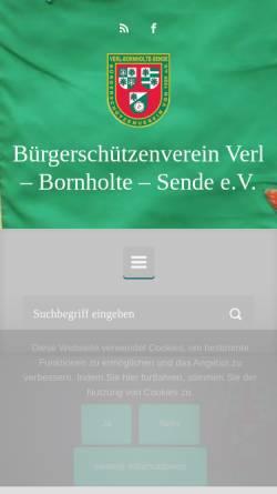Vorschau der mobilen Webseite www.bsv-verl.de, Bürgerschützenverein Verl-Bornholte-Sende von 1928 e.V.