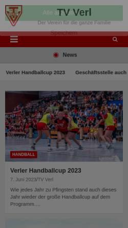 Vorschau der mobilen Webseite www.tv-verl.de, Turnverein von 1912 Verl e.V.