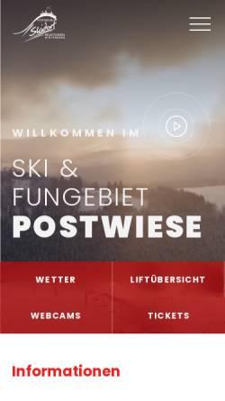 Vorschau der mobilen Webseite www.postwiese.de, Skigebiet Postwiesen