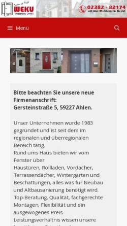 Vorschau der mobilen Webseite www.weku-fenster.de, Weku Fensterbau GmbH