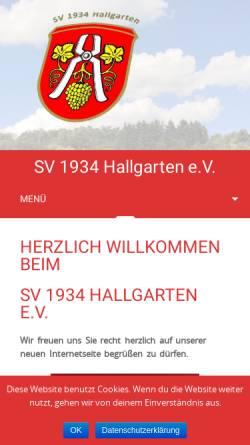 Vorschau der mobilen Webseite www.sv-hallgarten.de, Sportverein 1934 Hallgarten e.V.