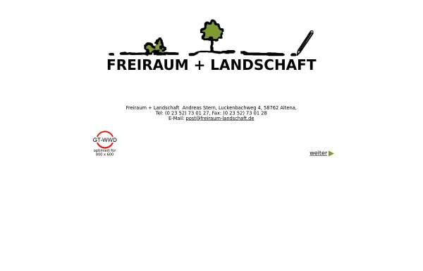 Vorschau von www.freiraum-landschaft.onlinehome.de, Freiraum + Landschaft, Andreas Stern