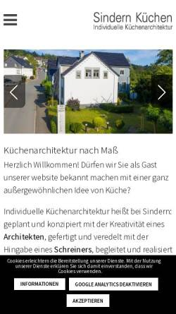 Vorschau der mobilen Webseite www.sindern.de, Sindern Küchen GmbH