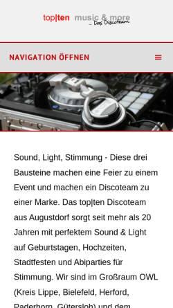 Vorschau der mobilen Webseite www.topten-disco.de, Daniel Klöpper e.K., Top-Ten Music and More