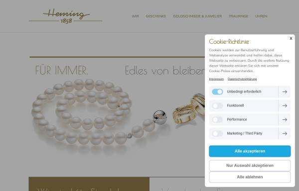 Vorschau von www.heming.de, Heming Goldschmiede und Juwelier