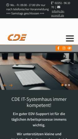 Vorschau der mobilen Webseite www.cde-pcprofi.de, CDE - Computersysteme und Datentechnik Euskirchen
