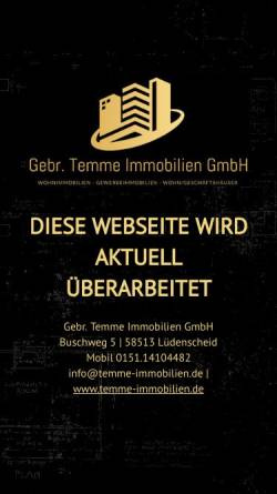 Vorschau der mobilen Webseite www.temme-immobilien.de, Immobilien Temme