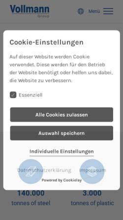 Vorschau der mobilen Webseite www.vollmann-group.com, Otto Vollmann GmbH & Co KG