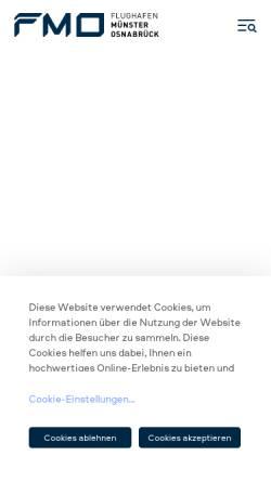 Vorschau der mobilen Webseite www.fmo.de, FMO Flughafen Münster / Osnabrück GmbH