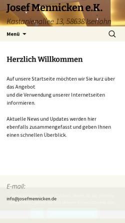 Vorschau der mobilen Webseite josefmennicken.de, Josef Mennicken OHG