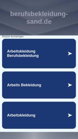 Vorschau der mobilen Webseite www.berufsbekleidung-sand.de, Berufsbekleidung Sand oHG