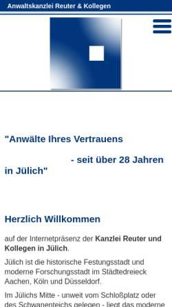 Vorschau der mobilen Webseite www.advo-reuter.de, Anwaltskanzlei Reuter u. Kollegen