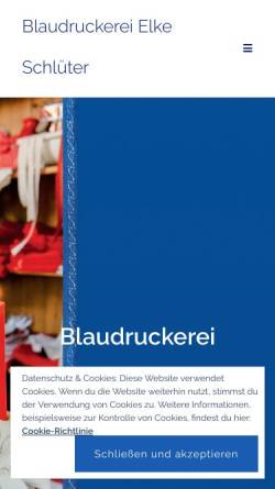 Vorschau der mobilen Webseite www.blaudruckerei-luedinghausen.de, Blaudruckerei Elke Schlüter, Lüdinghausen
