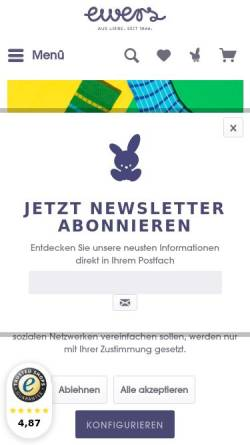 Vorschau der mobilen Webseite www.ewers-struempfe.de, Ewers Strümpfe GmbH