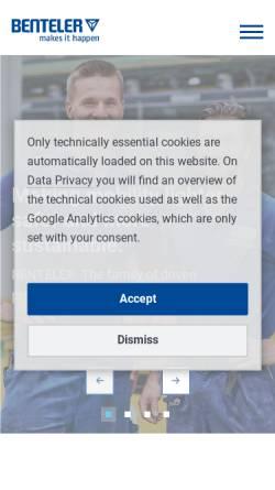 Vorschau der mobilen Webseite www.benteler.com, Benteler International AG