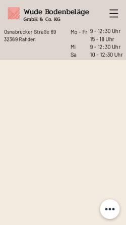 Vorschau der mobilen Webseite www.wude-bodenbelaege.de, Wude Bodenbeläge