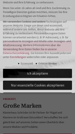Vorschau der mobilen Webseite www.klavierbau-schroeder.de, KLAVIERHAUS SCHRÖDER GbR