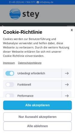 Vorschau der mobilen Webseite www.stey.de, Stey - Jochen Stey Computer Hard- & Software GmbH
