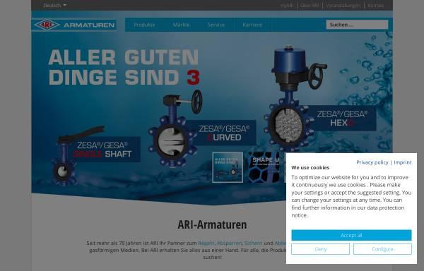 Vorschau von www.ari-armaturen.de, ARI Armaturen - Industriearmaturen