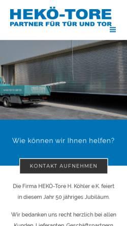Vorschau der mobilen Webseite www.hekoe-tore.de, HEKÖ Tore