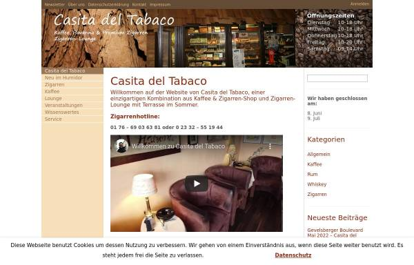Vorschau von www.casitadeltabaco.de, Casita del Tabaco