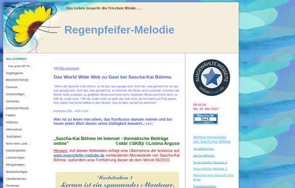 Vorschau von www.regenpfeifer-melodie.eu, Sascha-Kai Böhme