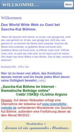 Vorschau der mobilen Webseite www.regenpfeifer-melodie.eu, Sascha-Kai Böhme