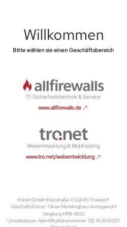 Vorschau der mobilen Webseite www.tronet.de, Tro:Net Internet Systemhaus GmbH