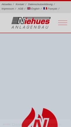 Vorschau der mobilen Webseite www.niehues-anlagenbau.de, Niehues Anlagenbau GmbH & Co KG