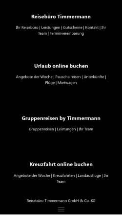 Vorschau der mobilen Webseite www.reisen-timmermann.de, Reisebüro Timmermann GmbH & Co. KG