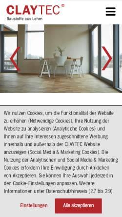Vorschau der mobilen Webseite www.claytec.de, CLAYTEC e. K.