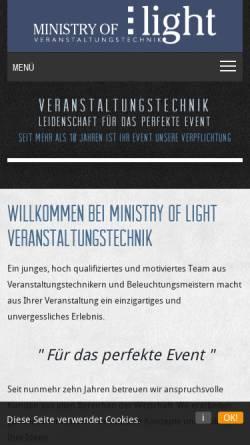 Vorschau der mobilen Webseite www.ministry-of-light.de, Hülsmann und Erben GbR - Ministry of Light