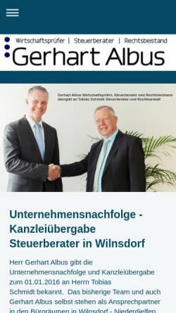 Vorschau der mobilen Webseite www.gerhart-albus.de, Gerhart Albus - Steuerberater - Wirtschaftsprüfer - Rechtsbeistand