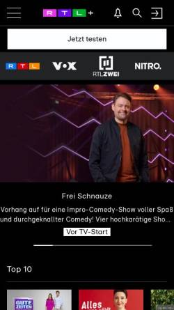 Vorschau der mobilen Webseite www.tvnow.de, TV Now: RTL