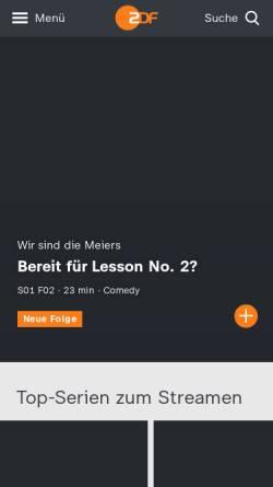 Vorschau der mobilen Webseite www.zdf.de, ZDFmediathek