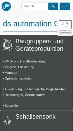 Vorschau der mobilen Webseite www.dsautomation.de, D&S Automation GmbH