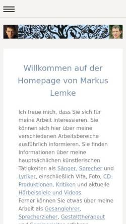 Vorschau der mobilen Webseite markuslemke.de, Lemke, Markus