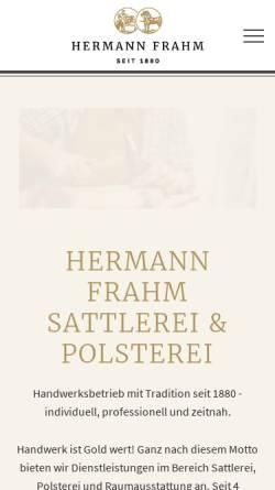 Vorschau der mobilen Webseite www.polsterei-frahm.de, Polsterei Herrmann Frahm