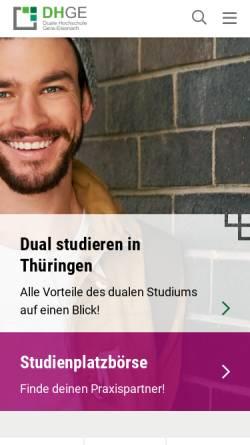 Vorschau der mobilen Webseite www.dhge.de, Berufsakademie Eisenach