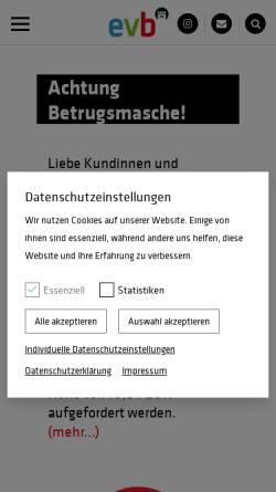 Vorschau der mobilen Webseite www.evb-energy.de, Eisenacher Versorgungs-Betriebe GmbH