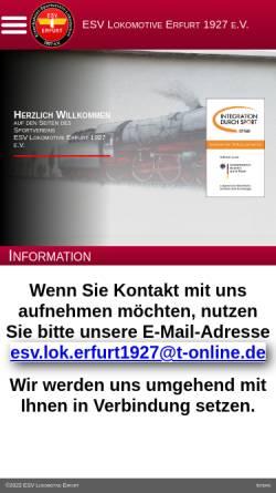 Vorschau der mobilen Webseite www.esv-lok-erfurt1927.de, Eisenbahner-Sportverein-Lokomotive 1927 e.V. (ESV)