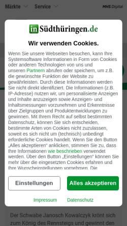 Vorschau der mobilen Webseite www.insuedthueringen.de, Suhler Verlagsgesellschaft mbH & Co. KG