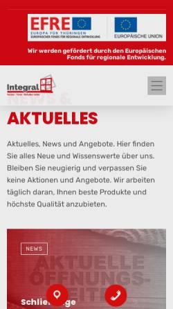 Vorschau der mobilen Webseite www.integral-apolda.de, Integral Fenster Türen Rolladen GmbH Apolda