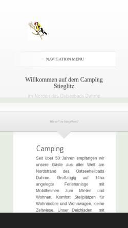 Vorschau der mobilen Webseite www.camping-stieglitz.de, Camping Stieglitz