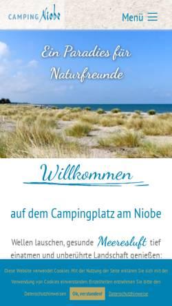 Vorschau der mobilen Webseite www.camping-am-niobe.de, Camping am Niobe